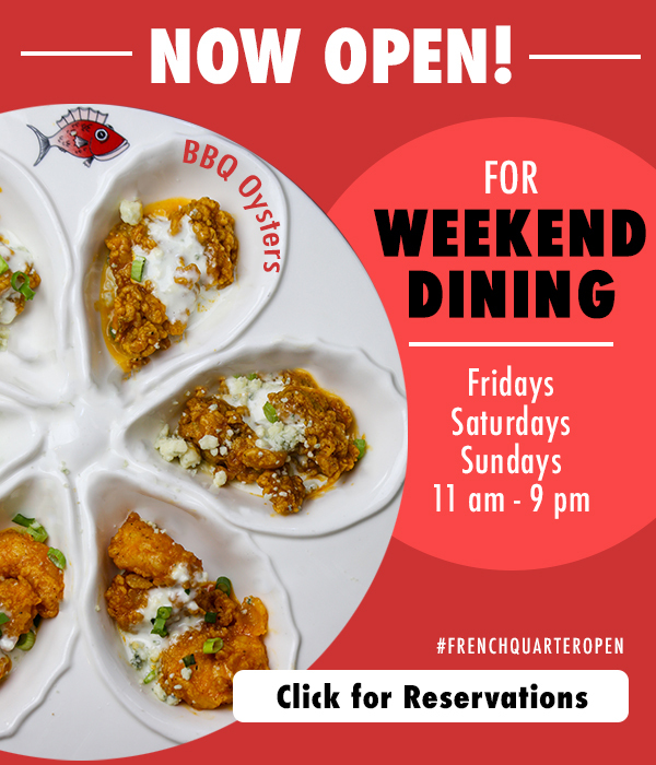 We are open for weekend dining.  Fridays, Saturdays, Sundays. Click for reservations.