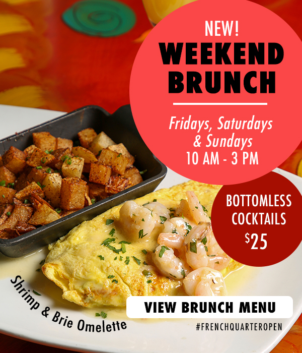New Brunch.  Open for weekend dining.  Fridays, Saturdays, Sundays. Click for reservations.