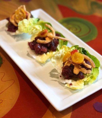 Tuna Tartare BLT Lettuce Wraps