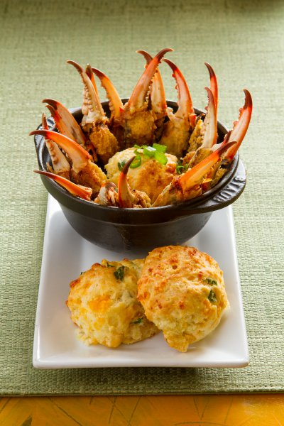 BBQ Crab Claws with Cheddar Biscuits