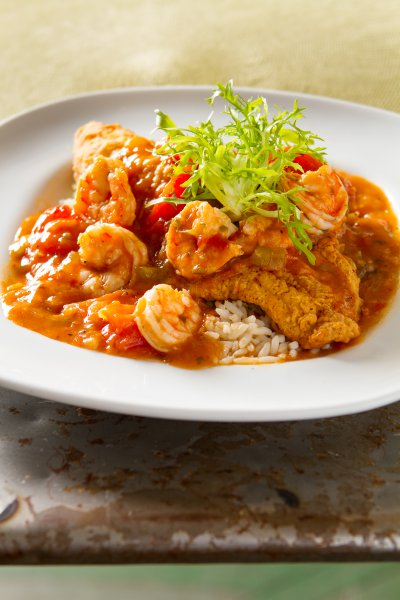 Crispy Catfish over Shrimp Etouffee